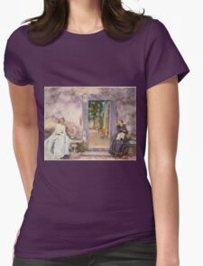 John Singer Sargent - The Garden Wall 1910. Woman portrait: sensual woman, girly art, female style, pretty women, femine, beautiful dress, cute, creativity, love, sexy lady, erotic pose Womens Fitted T-Shirt