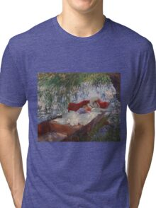 John Singer Sargent - Lady And Child Asleep In A Punt Under The Willows. Mom with baby portrait: sensual woman, love relations, lovely couple, family, valentine's day, romance, female and male Tri-blend T-Shirt