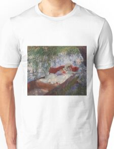 John Singer Sargent - Lady And Child Asleep In A Punt Under The Willows. Mom with baby portrait: sensual woman, love relations, lovely couple, family, valentine's day, romance, female and male Unisex T-Shirt