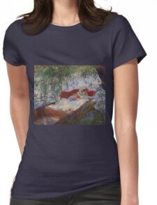 John Singer Sargent - Lady And Child Asleep In A Punt Under The Willows. Mom with baby portrait: sensual woman, love relations, lovely couple, family, valentine's day, romance, female and male Womens Fitted T-Shirt