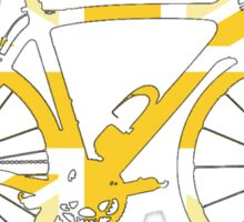 Bike Flag United Kingdom (Yellow - Big) Sticker