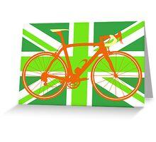 Bike Flag United Kingdom (Green) (Big - Highlight) Greeting Card