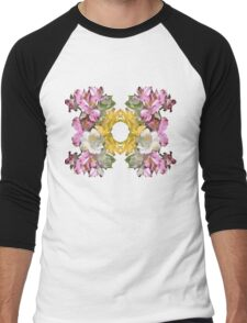 Floral pattern with the golden ring Men's Baseball ¾ T-Shirt