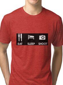 Eat Sleep Shoot Photographers Moto Shirt Sticker Posters Tri-blend T-Shirt