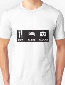 Eat Sleep Shoot Photographers Moto Shirt Sticker Posters Unisex T-Shirt