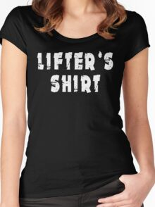 lifter's shirt white big Women's Fitted Scoop T-Shirt