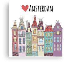 European houses in amsterdam Canvas Print