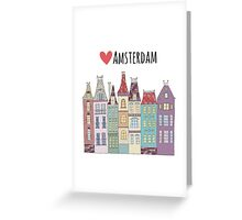 European houses in amsterdam Greeting Card