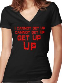get up red big Women's Fitted V-Neck T-Shirt