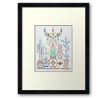Santa Fe Garden – Turquoise & Brown Framed Print