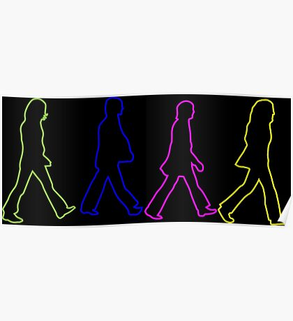Beatles Abbey Road Cross Neon Sillouethes Poster