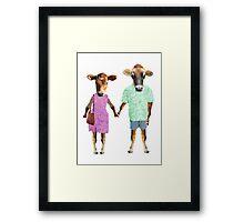 hipster cows Framed Print