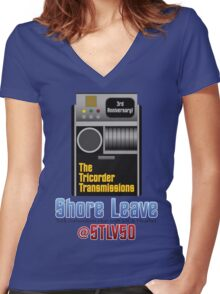 The Tricorder Transmissions - Shore Leave STLV50 Women's Fitted V-Neck T-Shirt