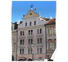 Prague: facade in soft pink Poster