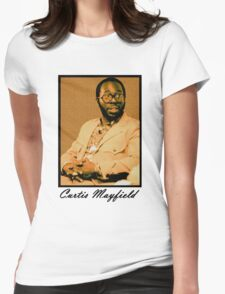 Curtis Mayfield Orange Womens Fitted T-Shirt