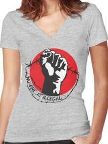No One Is Illegal Women's Fitted V-Neck T-Shirt
