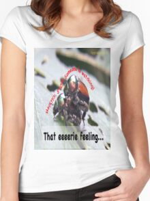 That eerie feeling someone is watching you… Women's Fitted Scoop T-Shirt
