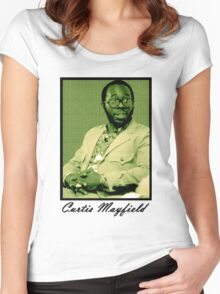 Curtis Mayfield Green Women's Fitted Scoop T-Shirt