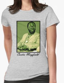 Curtis Mayfield Green Womens Fitted T-Shirt