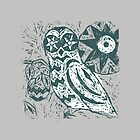 Owl wood cut print grey green by stannardart