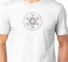 Metatron's Cube on White Unisex T-Shirt