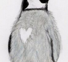 PENGUING HEART ART BIRTHDAY CHRISTMAS by artsyart