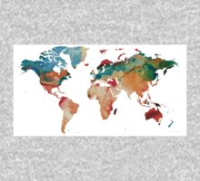 Map of The World 7 -Colorful Abstract Art One Piece - Long Sleeve