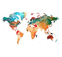 Map of The World 7 -Colorful Abstract Art Photographic Print