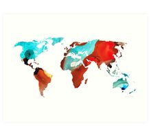 Map of The World 4 -Colorful Abstract Art Art Print