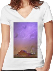Here Comes The Rain Women's Fitted V-Neck T-Shirt