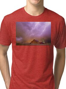 Red Barn on a Farm and What a Beautiful Sight Tri-blend T-Shirt