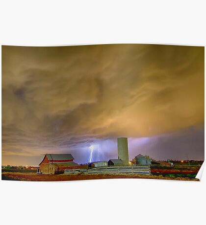 Thunderstorm Hunkering Down On The Farm Poster