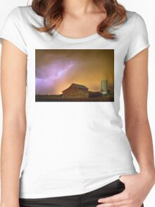 Watching The Storm From The Farm Women's Fitted Scoop T-Shirt