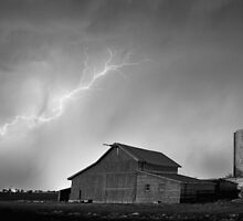 Watching The Storm From The Farm BW by Bo Insogna