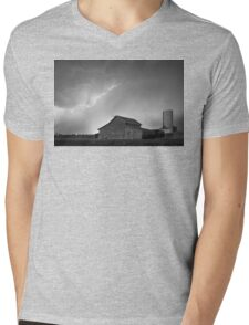 Watching The Storm From The Farm BW Mens V-Neck T-Shirt