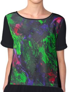Vibrant Abstract Swatch Painting Chiffon Top