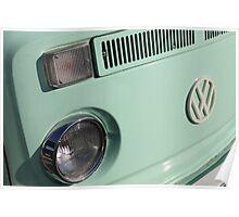 VW Camper Van Badge - Mint Green Poster