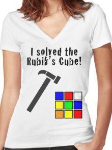 I Solved the Rubik's Cube Women's Fitted V-Neck T-Shirt