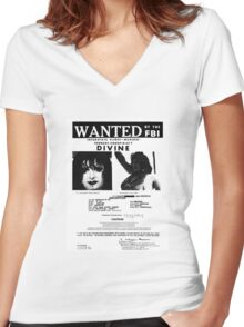 Divine: Wanted By The FBI Women's Fitted V-Neck T-Shirt