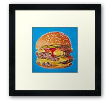 Double Cheeseburger Oil Painting Framed Print