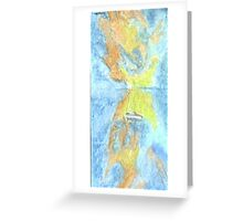 Lone Boat in a Splash of Colour Greeting Card