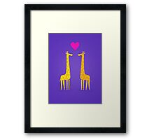 Cute cartoon giraffe couple in Love (Purple Edition) Framed Print