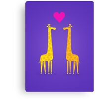 Cute cartoon giraffe couple in Love (Purple Edition) Canvas Print