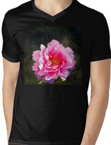 Morning Light, a mossy forest and a bright peony flower, landscape Mens V-Neck T-Shirt