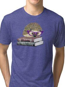 Adorable Literary Hedgehog wearing Glasses Tri-blend T-Shirt