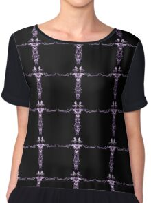 purple line on Black Chiffon Top