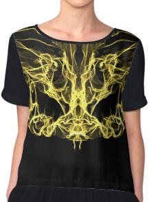 gold mask on Black Chiffon Top
