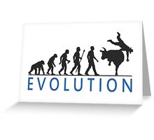 Funny Evolution Bull Riding Greeting Card