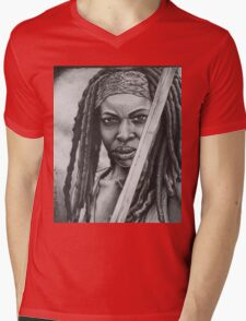 Michonne Mens V-Neck T-Shirt