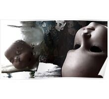 Dolls Heads on Table Poster